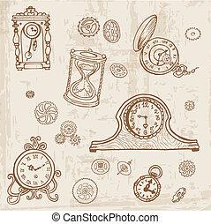 jogo, engrenagem, relógio, vindima, -, mão, vetorial, doodle, desenhado