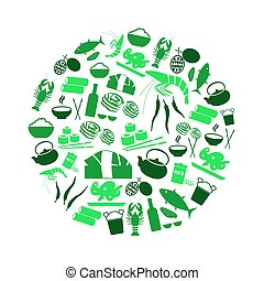 jogo, eps10, ícones, alimento, simples, tema, asiático, círculo