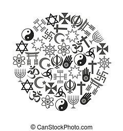 jogo, eps10, ícones, símbolos, religiões, vetorial, mundo, círculo