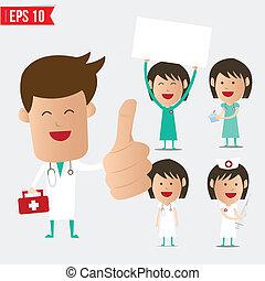 jogo, eps10, doutor, médico, -, ilustração, vetorial, caricatura