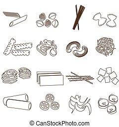 jogo, eps10, esboço, ícones, alimento, macarronada, tipos