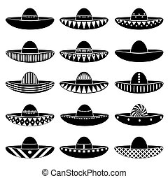 jogo, eps10, méxico, sombrero, ícones, variações, chapéu