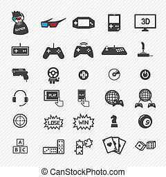 jogo, eps10, set., ilustração, ícones