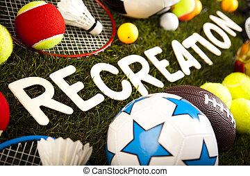 jogo, equipamento esportes, natural, coloridos, tom