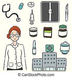 jogo, equipamento hospital, vetorial, médico, hospitalar, pessoal