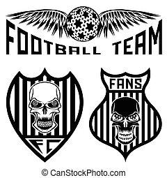 jogo, equipe futebol, crânios, asas, cristas