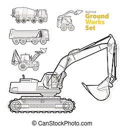 jogo, equipment., amarela, catálogo, maquinaria construção, trabalhos, vehicles., chão
