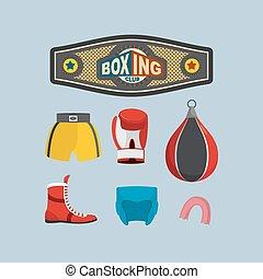 jogo, equipment., boxe, icons.