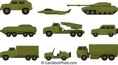 jogo, equipment., ilustração, branca, militar, experiência., vetorial