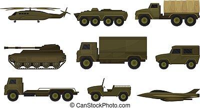jogo, equipment., ilustração, experiência., vetorial, militar, branca