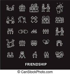 jogo, esboço, ícones, amizade, branca, editable, símbolos, experiência., vetorial, pretas, linha, sinais, ilustrações
