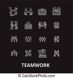 jogo, esboço, ícones, branca, editable, símbolos, experiência., vetorial, trabalho equipe, pretas, linha, sinais, ilustrações