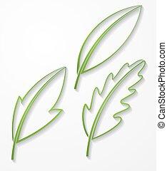 jogo, esboço, folhas, 3, silhuetas, vetorial, verde, shadow.