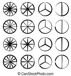 jogo, esboço, gráfico, -, torta, segmentado, mapa, círculo