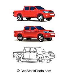jogo, esboço, ilustração, realístico, pickup, vetorial, caminhão, colorido