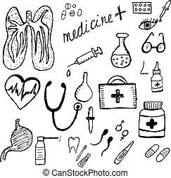 jogo, esboço, médico, icons., mão, vetorial, ilustração, medicina, style., desenho
