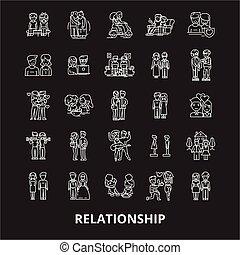 jogo, esboço, relacionamento, ícones, branca, editable, símbolos, experiência., vetorial, pretas, linha, sinais, ilustrações