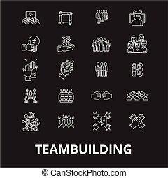 jogo, esboço, teambuilding, ícones, editable, símbolos, experiência., branca, vetorial, pretas, linha, sinais, ilustrações