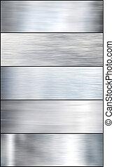 jogo, escovado, prata, metal.