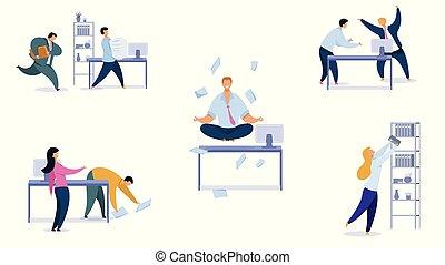 jogo, escritório, diariamente, vetorial, rotina, ilustrações