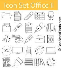 jogo, escritório, doodle, ii, desenhado, alinhado, ícone