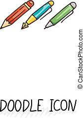 jogo, escritório, doodle, utensils., icons., escrita