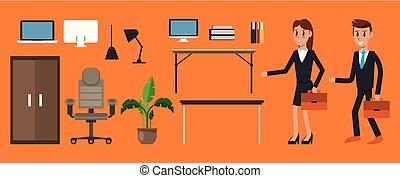 jogo, escritório, elementos
