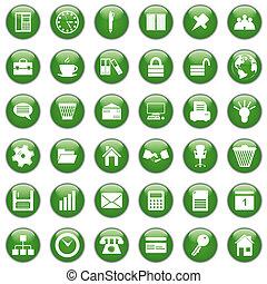 jogo, escritório negócio, ícones