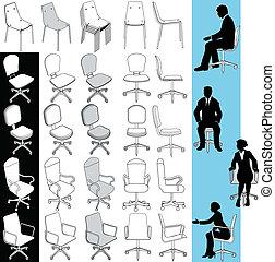 jogo, escritório, negócio, cadeiras, desenhos, mobília