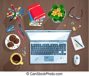 jogo, escritório, topo, ilustração, local trabalho, vista