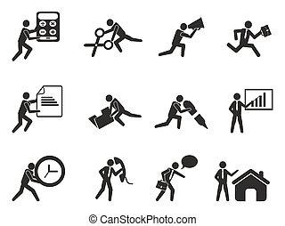 jogo, escritório, trabalhando, ícones, homem negócios, homem