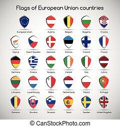 jogo, escudo, união, símbolo, países, ilustração, infographic, vetorial, bandeiras, seu, europeu