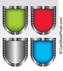 jogo, escudos, ilustração, ícone
