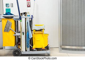 jogo, esfregue balde, amarela, equipamento, limpeza
