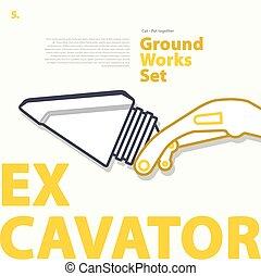 jogo, esquema, esboço, escavador, themed, cor, tipográfico, part., earthworks.