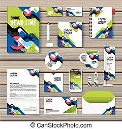 jogo, esquema, negócio, voador, livreto, anual, cobertura, incorporado, papelaria, revista, vetorial, desenho, folheto, cartaz, relatório, size/, template/, template., identidade, a4