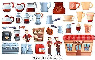 jogo, estilo, ícones, caricatura, barista