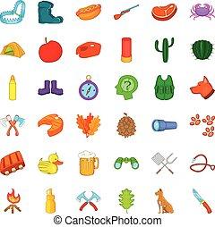jogo, estilo, ícones, caricatura, maçã