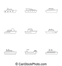 jogo, estilo, ícones, esboço, yachtsman