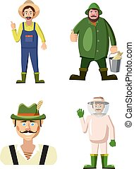 jogo, estilo, agricultor, caricatura, ícone