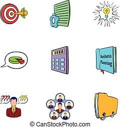 jogo, estilo, caricatura, ícones escritório