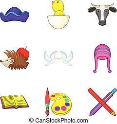 jogo, estilo, caricatura, pré-escolar, ícones