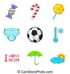 jogo, estilo, caricatura, puberdade, ícones