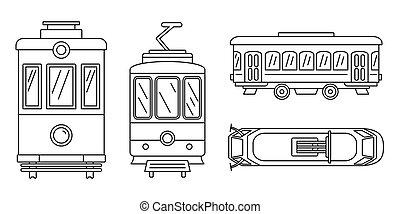 jogo, estilo, esboço, tramway, ícone