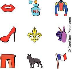 jogo, estilo, frança, caricatura, ícones