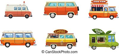 jogo, estilo, minivan, caricatura, ícone