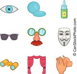 jogo, estilo, percepção, caricatura, ícones