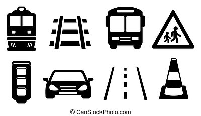 jogo, estrada, ícones