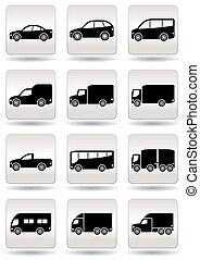 jogo, estrada, transporte, ícones