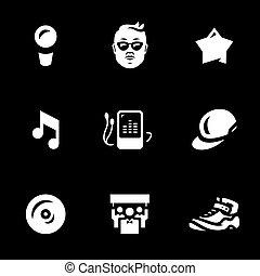 jogo, estrela, icons., vetorial, música, batida